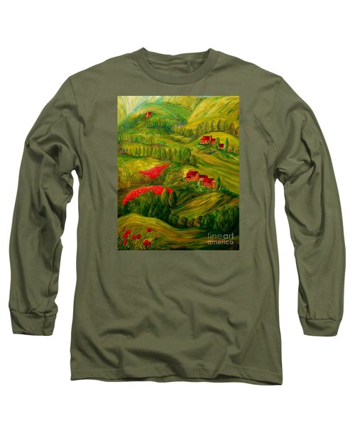 Long Sleeve T-Shirt featuring the painting Tuscany At Dawn by Eloise Schneider