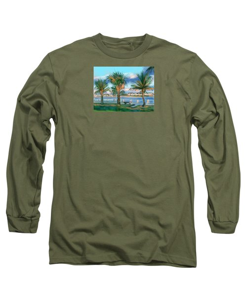 Long Sleeve T-Shirt featuring the digital art Twilight On Saw Fish Bay by Jean Pacheco Ravinski