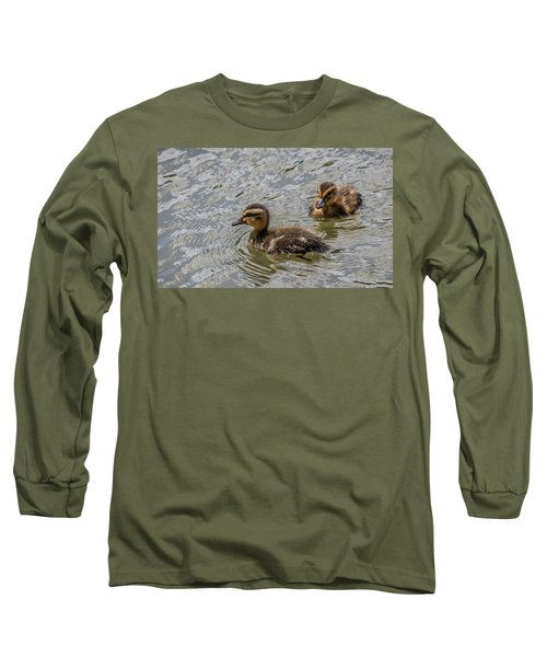 Two Baby Ducks Long Sleeve T-Shirt by Ray Congrove
