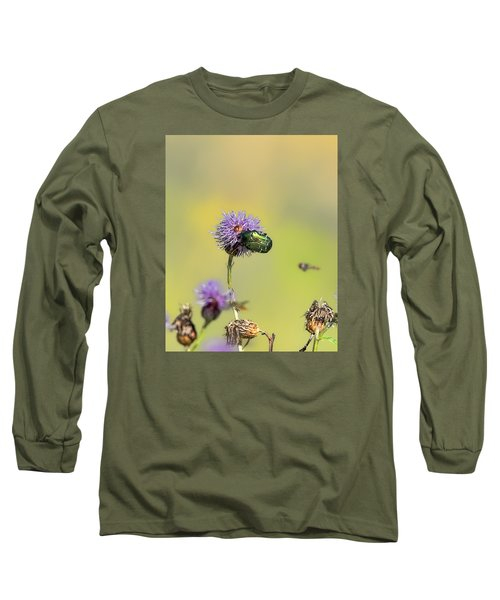 Long Sleeve T-Shirt featuring the photograph Two Beetles On A Thistle Flower by Leif Sohlman