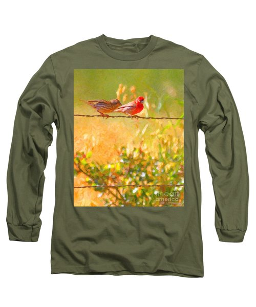Two Birds On A Wire Long Sleeve T-Shirt