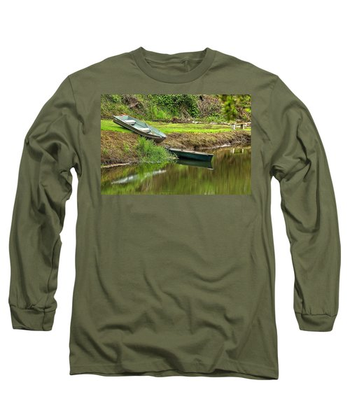 Two Boats And A Bench 1024 Long Sleeve T-Shirt