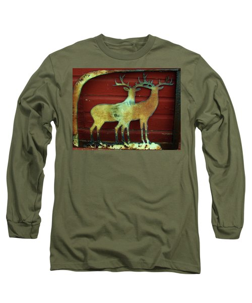 Two Bucks 1 Long Sleeve T-Shirt by Larry Campbell