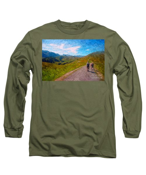 Two Hikers In Adelboden Long Sleeve T-Shirt by Gerhardt Isringhaus
