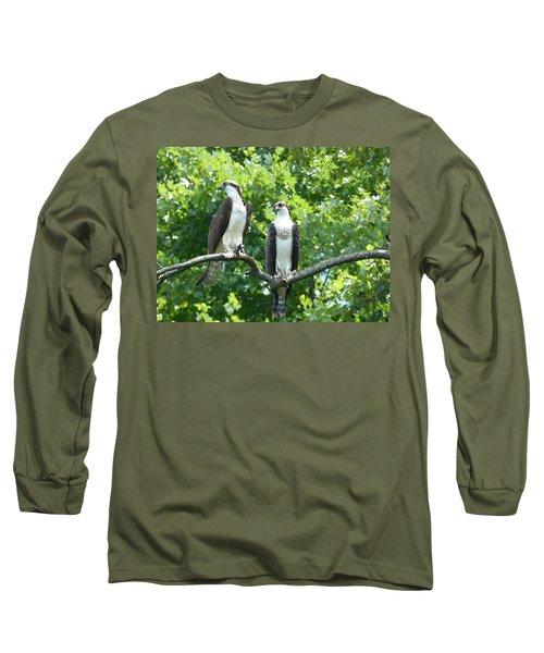Two On A Limb - Osprey Long Sleeve T-Shirt by Donald C Morgan