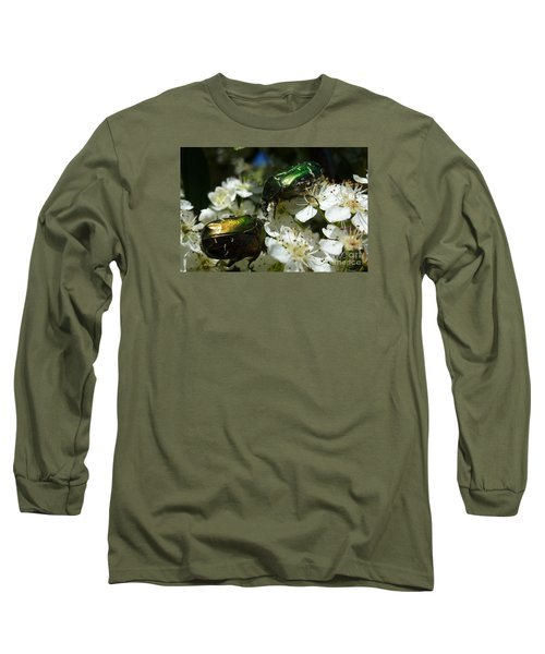Long Sleeve T-Shirt featuring the photograph Two Scarabs Metallic Green by Jean Bernard Roussilhe