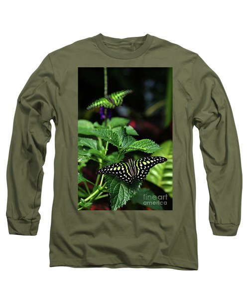 Two Tailed Jay Butterflies- Graphium Agamemnon Long Sleeve T-Shirt