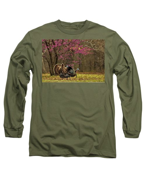 Two Tom Turkey And Redbud Tree Long Sleeve T-Shirt by Sheila Brown