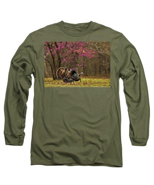 Two Tom Turkey And Redbud Tree Long Sleeve T-Shirt
