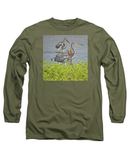 Long Sleeve T-Shirt featuring the photograph Two Tri Colored Herons by Phyllis Beiser