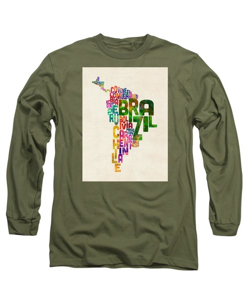 Typography Map Of Central And South America Long Sleeve T-Shirt by Michael Tompsett