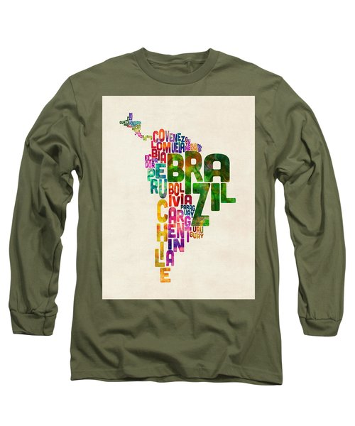 Typography Map Of Central And South America Long Sleeve T-Shirt