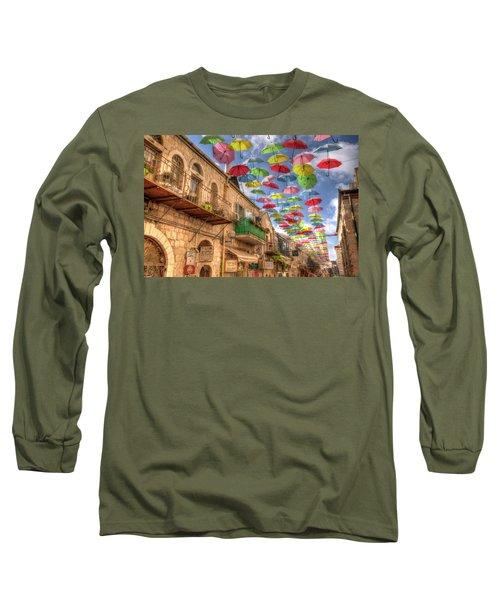 Umbrellas Over Jerusalem Long Sleeve T-Shirt