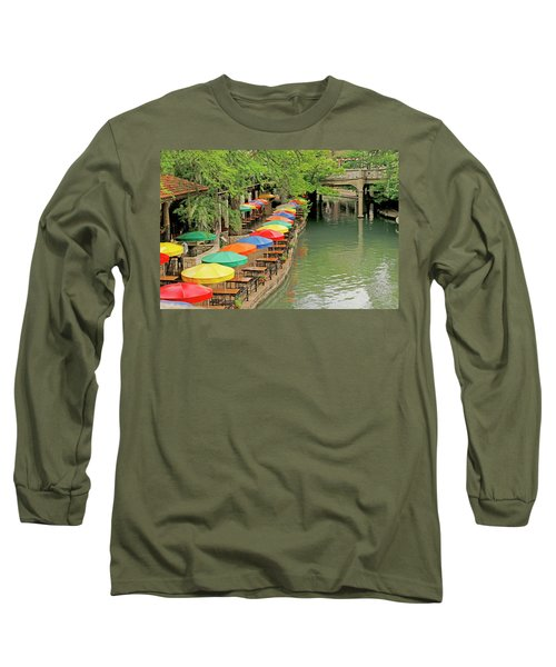 Long Sleeve T-Shirt featuring the photograph Umbrellas Along River Walk - San Antonio by Art Block Collections
