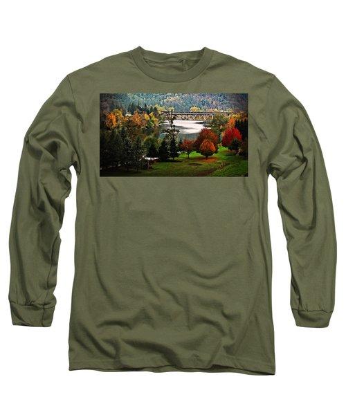 Umpqua Bridge In The Fall Long Sleeve T-Shirt by Katie Wing Vigil