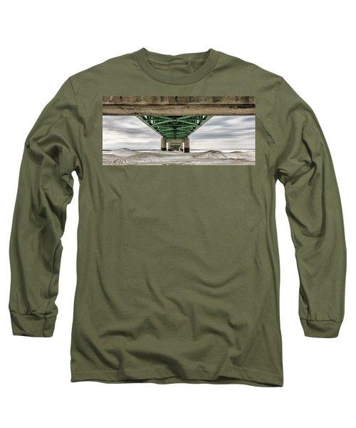 Long Sleeve T-Shirt featuring the photograph Under Mackinac Bridge Winter by John McGraw