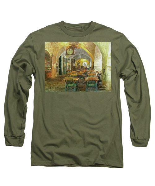 Long Sleeve T-Shirt featuring the photograph Underneath The Arches - Street Cafe, Prague by Leigh Kemp