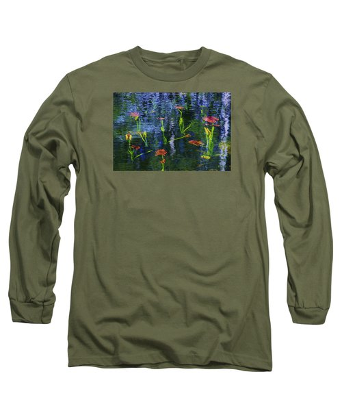 Underwater Lilies Long Sleeve T-Shirt by Sean Sarsfield
