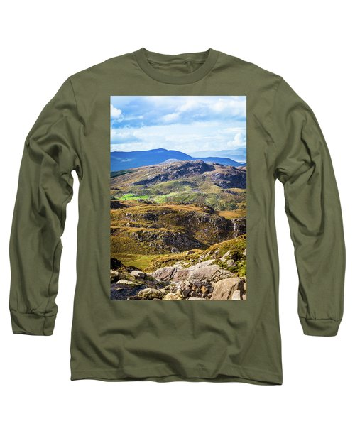 Undulating Green, Purple And Yellow Rocky Landscape In  Ireland Long Sleeve T-Shirt by Semmick Photo