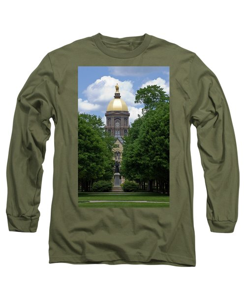 University Of Notre Dame Golden Dome Long Sleeve T-Shirt by Sally Weigand