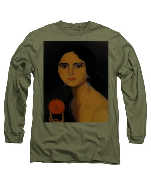 Untitled Woman With Orange Long Sleeve T-Shirt by Manuel Sanchez