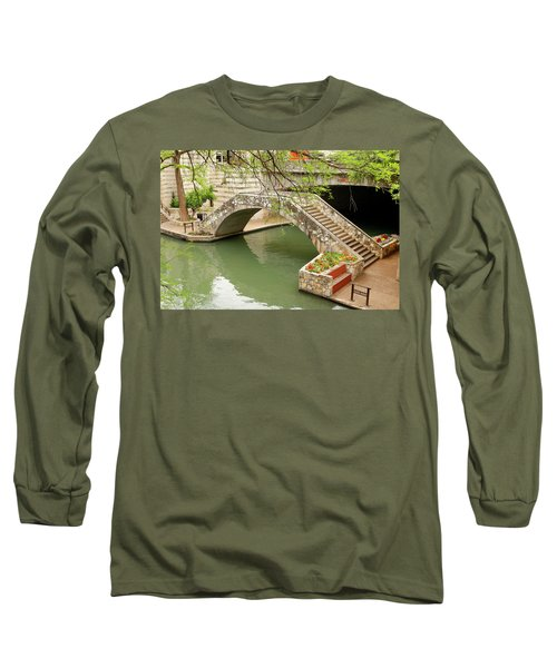 Long Sleeve T-Shirt featuring the photograph Up And Over - San Antonio River Walk by Art Block Collections