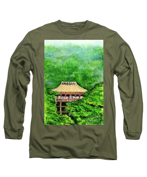 Long Sleeve T-Shirt featuring the painting Up High Temple by Yoshiko Mishina