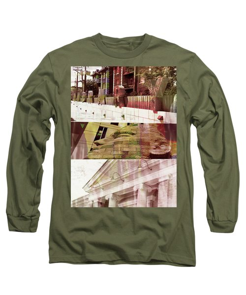 Long Sleeve T-Shirt featuring the photograph Uptown Library With Color by Susan Stone