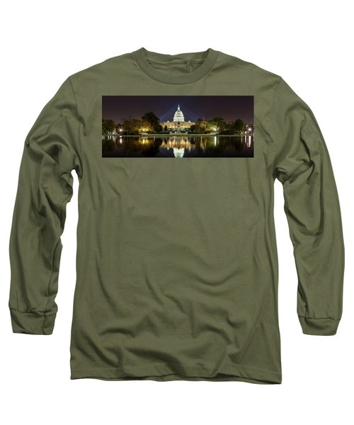 Us Capitol Night Panorama Long Sleeve T-Shirt