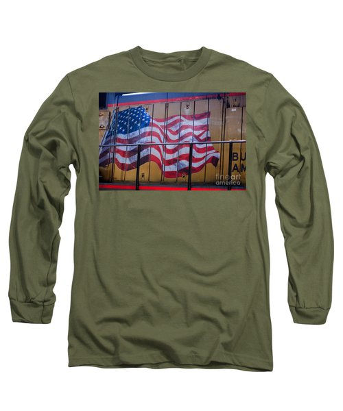Us Flag On Side Of Freight Engine Long Sleeve T-Shirt