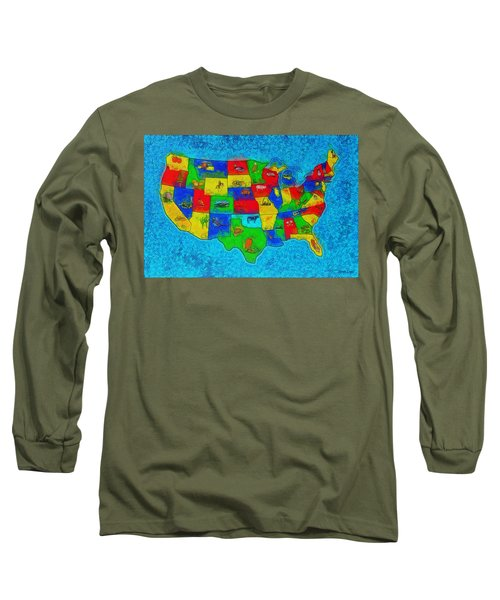 Us Map With Theme  - Special Finishing -  - Da Long Sleeve T-Shirt