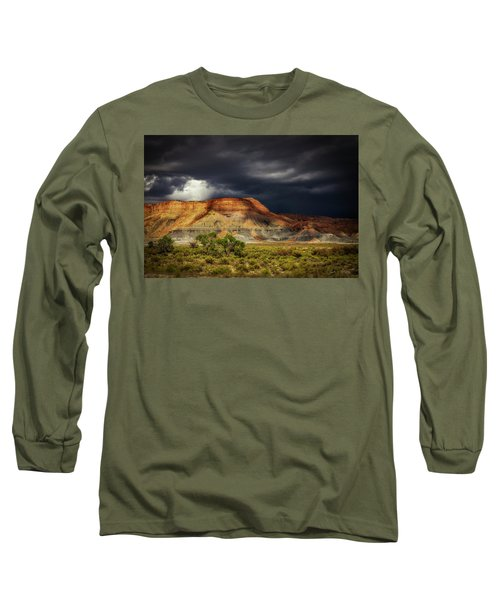 Utah Mountain With Storm Clouds Long Sleeve T-Shirt by John A Rodriguez