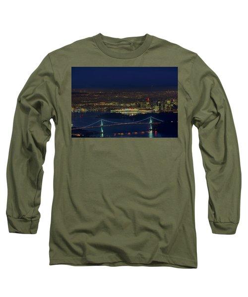 Vancouver Bc Cityscape By Lions Gate Bridge Long Sleeve T-Shirt