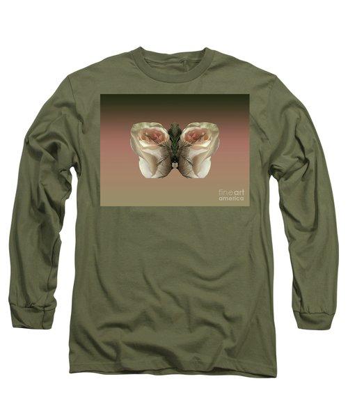 Vanilla Butterfly Rose Long Sleeve T-Shirt