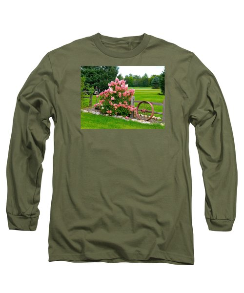 Vanilla Strawberry Hydrangea Long Sleeve T-Shirt by Randy Rosenberger