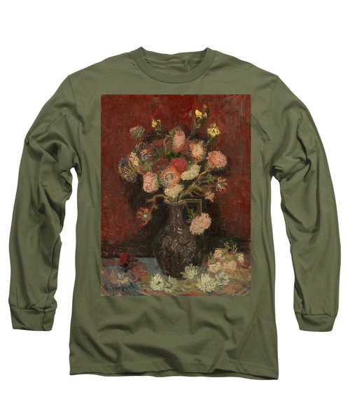 Vase With Chinese Asters And Gladioli Long Sleeve T-Shirt