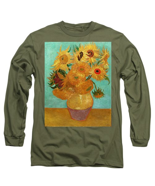 Long Sleeve T-Shirt featuring the painting Vase With Twelve Sunflowers by Van Gogh