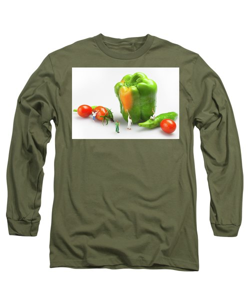 Long Sleeve T-Shirt featuring the painting Vegetable Painting Little People On Food by Paul Ge