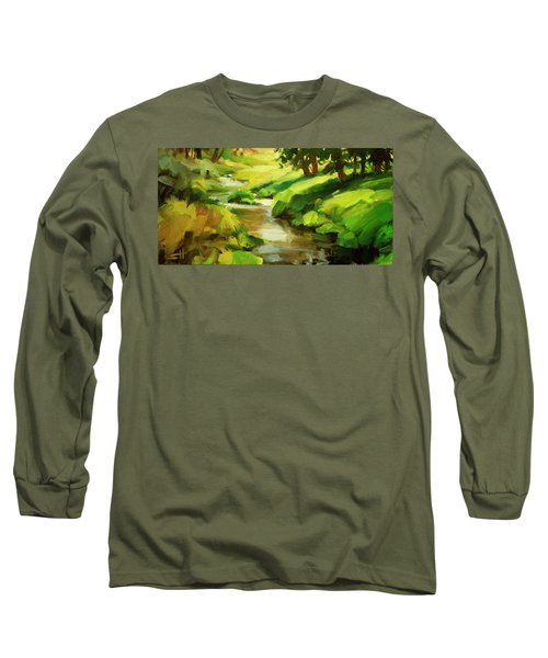 Long Sleeve T-Shirt featuring the painting Verdant Banks by Steve Henderson
