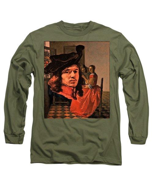 Vermeer Study In Orange Long Sleeve T-Shirt