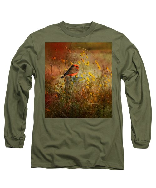 Vermilion Flycatcher At St. Marks Long Sleeve T-Shirt