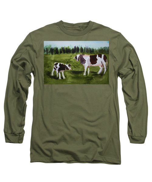 Long Sleeve T-Shirt featuring the painting Vermont Cow And Calf by Donna Walsh