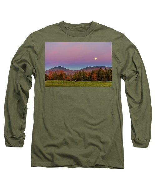Vermont Fall, Full Moon And Belt Of Venus Long Sleeve T-Shirt by Tim Kirchoff