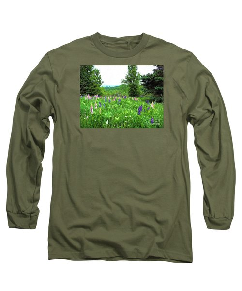 Vermont Lupine Long Sleeve T-Shirt by Mim White