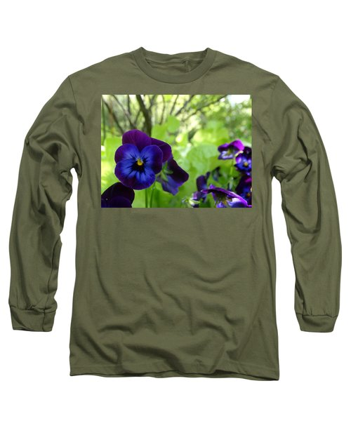 Vibrant Violets In Purple Long Sleeve T-Shirt by Rebecca Overton