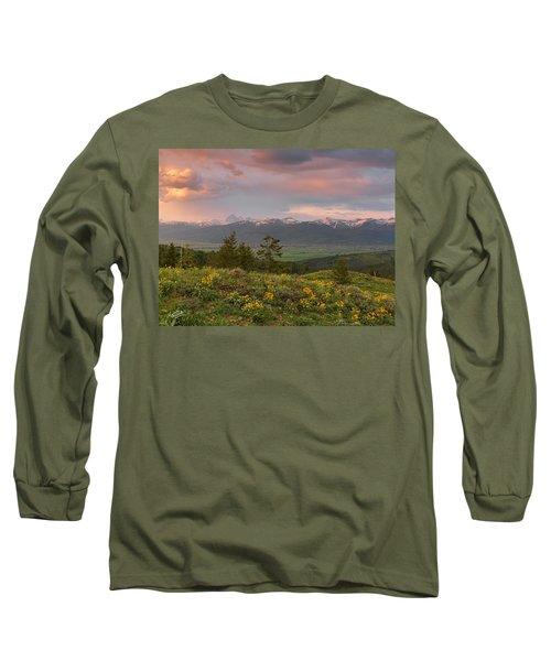 Victor Idaho Sunset Long Sleeve T-Shirt by Leland D Howard