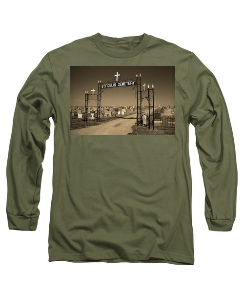 Long Sleeve T-Shirt featuring the photograph Victoria, Kansas - St. Fidelis Cemetery Sepia by Frank Romeo