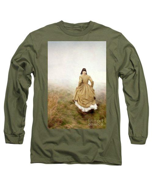 Victorian Woman Running On The Misty Moors Long Sleeve T-Shirt