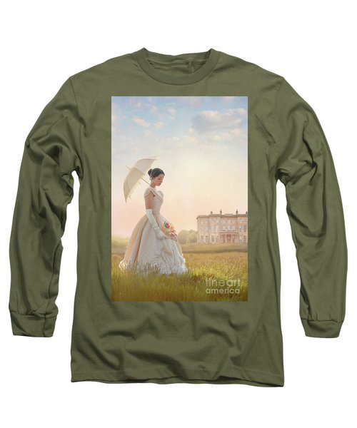 Victorian Woman With Parasol And Fan Long Sleeve T-Shirt by Lee Avison