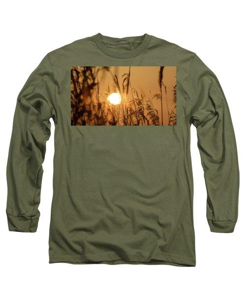 View Of Sun Setting Behind Long Grass B Long Sleeve T-Shirt
